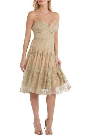 Eci Pleat Bodice Mesh Dress