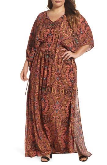 Plus Size Melissa Mccarthy Seven7 Print Gauze Maxi Dress