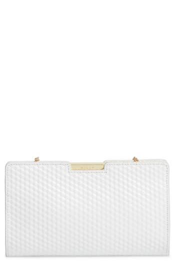 Milly Small Geo Debossed Leather Frame Clutch - White