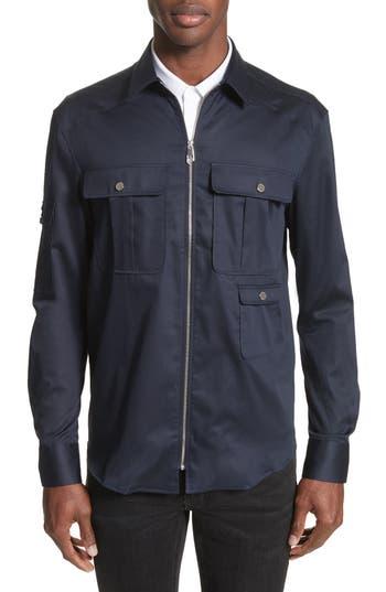 Men's Versace Collection Zip Front Stretch Cotton Shirt