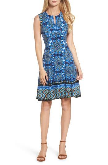 Maggy London Scuba Fit & Flare Dress, Blue