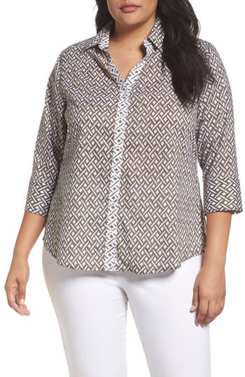 Plus Size Foxcroft Mary Ikat Geo Print Shirt, Green