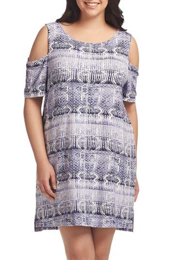 Plus Size Tart Tabitha Print Cold Shoulder Shift Dress, Pink