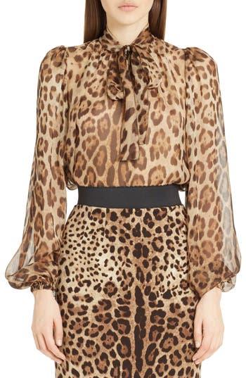 Women's Dolce&gabbana Leopard Print Silk Tie Neck Blouse