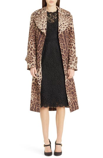 Women's Dolce & gabbana Leopard Print Trench Coat, Size 44 - Brown