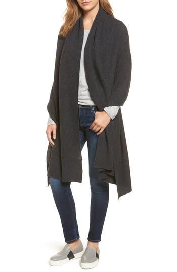Women's Halogen Cardigan Stitch Cashmere Wrap, Size One Size - Grey