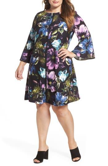 Plus Size Gabby Skye Floral Bell Sleeve A-Line Dress, Black