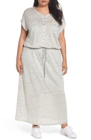 Plus Size Caslon Linen Knit Pocket Maxi Dress