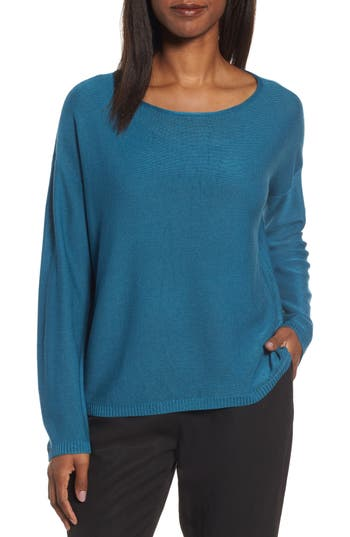 Eileen Fisher Tencel & Wool Boxy Sweater, Blue/green