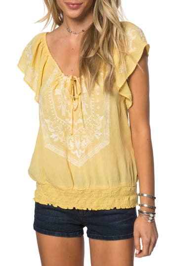 Women's O'Neill Anya Embroidered Top, Size X-Small - Yellow