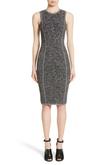 Michael Kors Stretch Tweed Jacquard Sheath Dress, Grey
