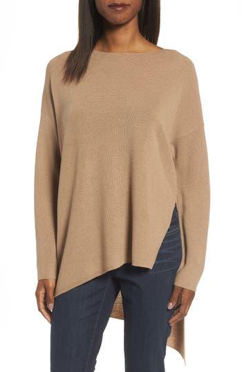 Eileen Fisher Asymmetrical Merino Wool Pullover, Beige