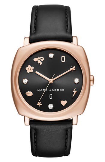 Women's Marc Jacobs Mandy Leather Strap Watch, 34Mm