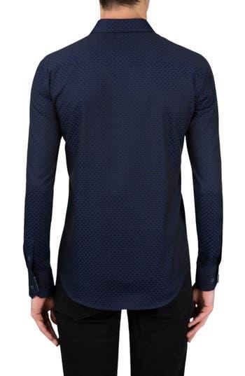 Men's Bugatchi Shaped Fit Rectangle Jacquard Sport Shirt