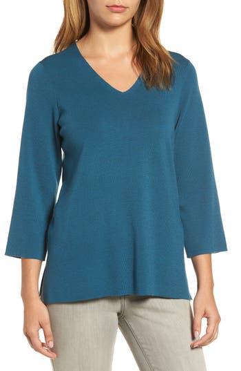Eileen Fisher Merino Wool V-Neck Top, Blue/green