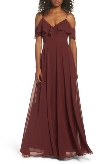 Jenny Yoo Cold Shoulder Chiffon Gown, Red