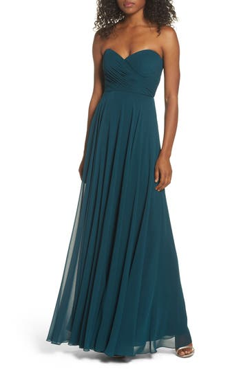 Jenny Yoo Adeline Strapless Chiffon Gown, Blue/green