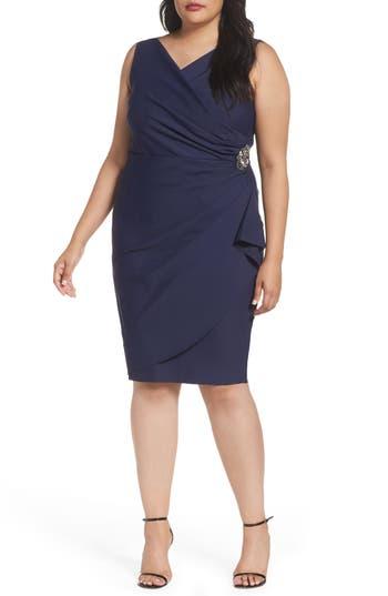 Plus Size Alex Evenings Embellished Surplice Sheath Dress, Blue