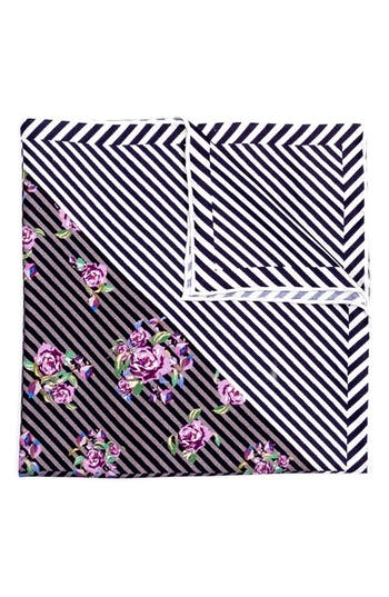 Men's Hook + Albert Necker Geo Floral Silk Pocket Square, Size One Size - Purple