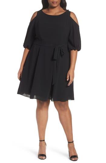 Plus Size Adrianna Papell Gauzy Crepe Cold Shoulder Dress, Black