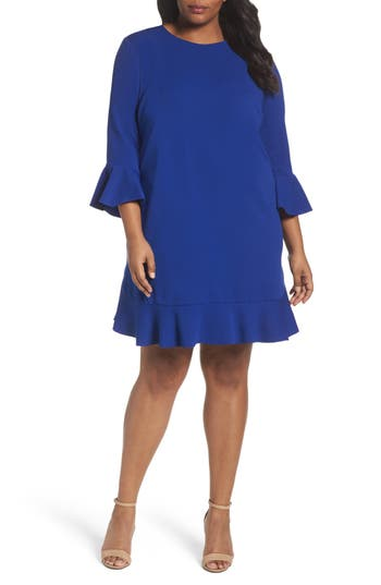Plus Size London Times Bell Sleeve Shift Dress, Blue
