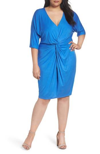 Plus Size Three Dots Twist Front Sheath Dress, Blue