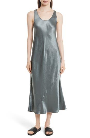 Vince Bias Cut Satin Midi Dress, Green