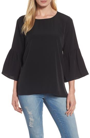 Women's Bobeau Bell Sleeve Blouse, Size X-Small - Black