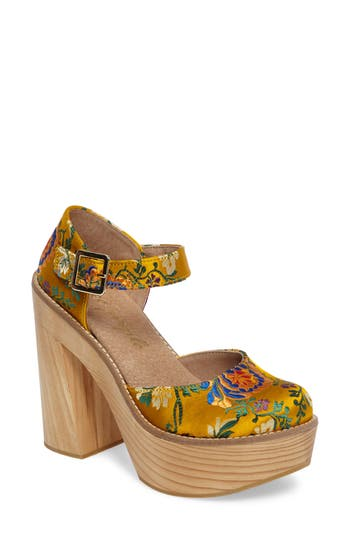 Free People Starlet Embroidered Platform Pump, Yellow