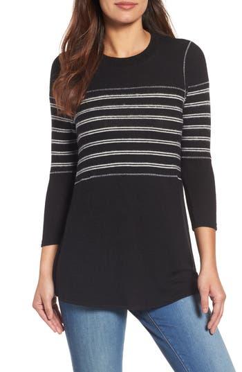 Women's Caslon Stripe Panel Sweater, Size X-Small - Black