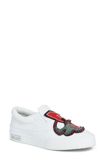 Miu Miu Embellished Slip-On Sneaker, White