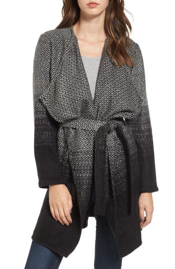 Women's Bb Dakota Myles Ombre Blanket Coat, Size X-Small - Black