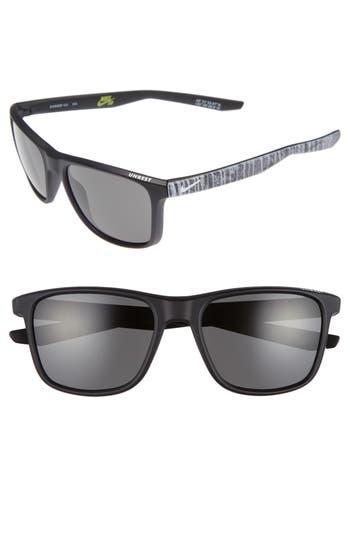 Nike Unrest Se 57Mm Sunglasses - Matte Dark Obsidian/ White