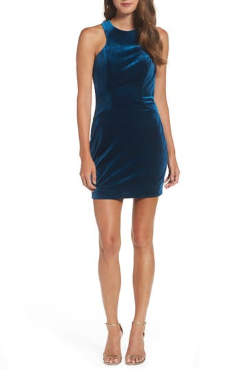La Femme High Neck Velvet Body-Con Dress, Blue