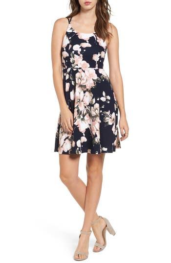 Soprano Floral Print Skater Dress, Blue
