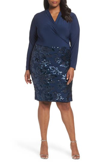 Plus Size Marina Sequin Faux Wrap Sheath Dress, Blue