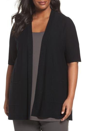 Plus Size Eileen Fisher Simple Tencel & Merino Wool Cardigan, Black
