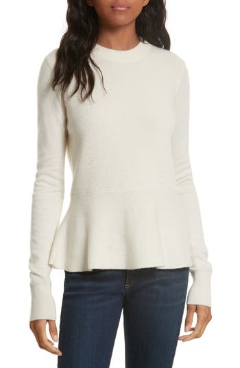 Women's Veronica Beard Raleigh Cashmere Peplum Sweater, Size X-Small - Ivory
