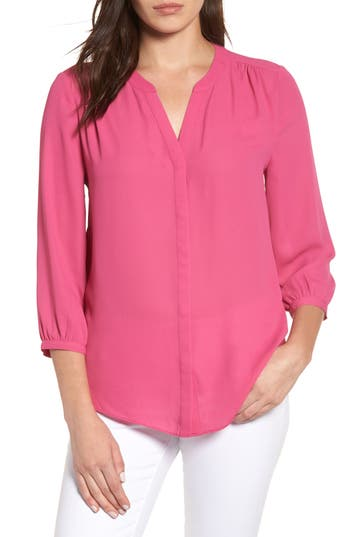 Women's Nydj Pleat Back Blouse, Size X-Small - Pink