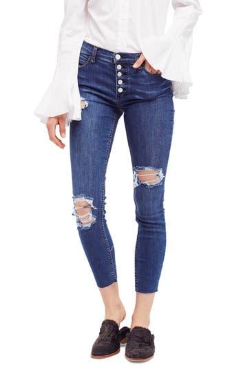 Free People Reagan Destroyed Crop Skinny Jeans, Blue