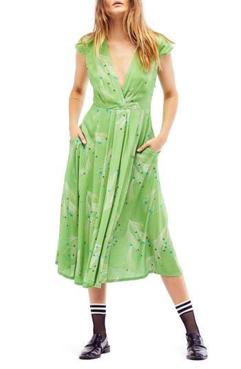 Free People Print Retro Midi Dress, Green