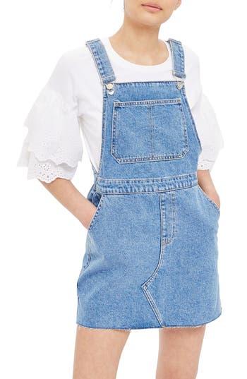 Topshop Denim Pinafore Style Dress