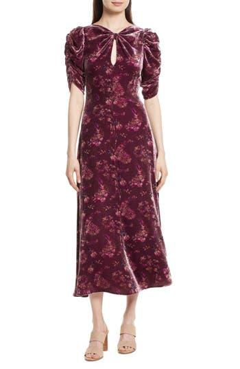 Rebecca Taylor Jewel Velvet Midi Dress, Red
