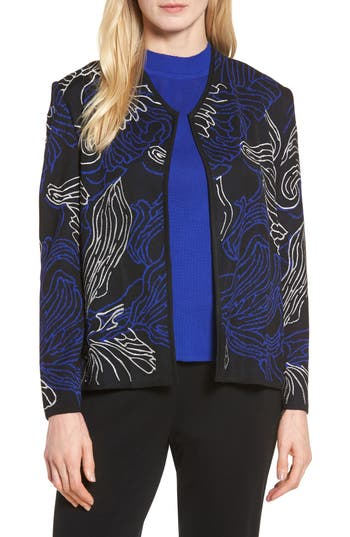 Ming Wang Embroidered Knit Jacket, Blue