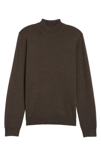Big & Tall Nordstrom Shop Mock Neck Merino Wool Sweater, Brown