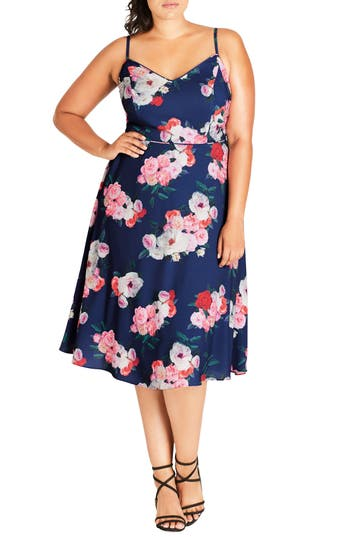 Plus Size City Chic Summer Fling Floral Print Midi Dress, Blue