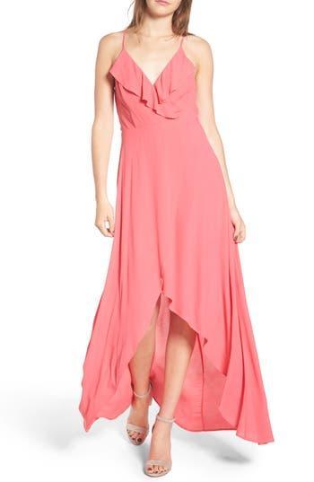 Dee Elly Ruffle Surplice Maxi Dress, Pink