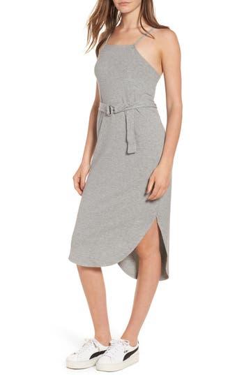 Love, Fire Rib Knit Belted Dress, Grey
