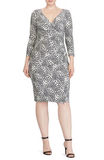 Plus Size Lauren Ralph Lauren Shirred Print Jersey Sheath Dress, Grey