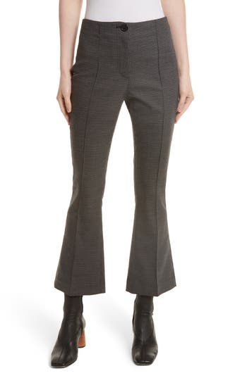 Helmut Lang Mini Houndstooth Crop Flare Pants, Grey